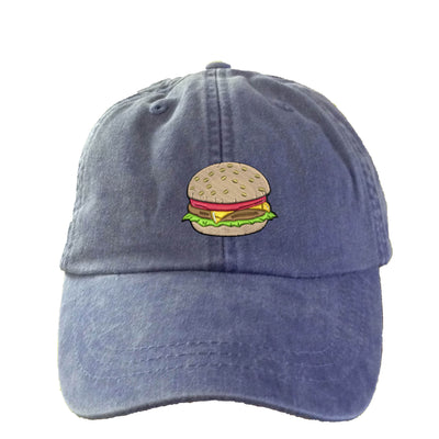 Hamburger Hat.  Ladies Cookout  Hat.  Baseball Hat. Cool Mesh Lining & Adjustable Strap. 33 Colors Avail. HER-LP101 - Whynotstopnshop.com