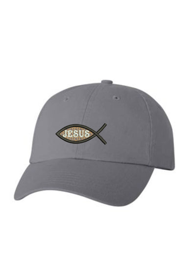 Jesus Fish Embroidered Hat Unisex.  Embroidered Hat. Baseball Cap. Adjustable With Tri-Glide Buckle. 36 Colors. VC300A - Whynotstopnshop.com