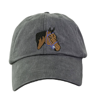 Horse Head Hat - Embroidered. Embroidered Horse Hat. Adjustable Leather Strap. More Colors Avail. HER-LP101 - Whynotstopnshop.com