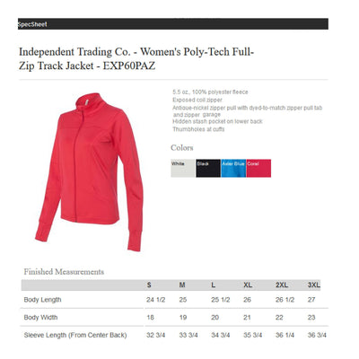 Monogram Full Zip Jacket. Independent Trading Co. - Women's Poly-Tech Full-Zip Track Jacket - SS: EXP60PAZ - Whynotstopnshop.com