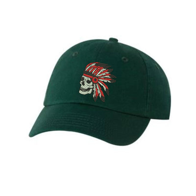 Indian Skull Embroidered Hat Unisex. Embroidered Hat Baseball Cap.  Adjustable With Tri-Glide Buckle. 36 Colors VC300A - Whynotstopnshop.com