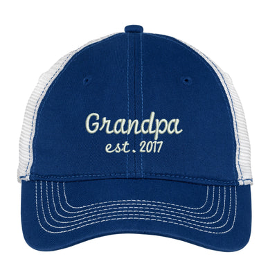 Grandpa Est 2017 -1 Embroidered  Mesh Back Hat.  Est 2017 Baseball Hat - Mesh Back  Trucker Hat. Trucker Hat. DT607 - Whynotstopnshop.com