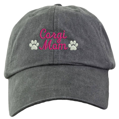 Corgi Mom Baseball Hat - Embroidered. Gift For Corgi Mom. Corgi Mom Cap With Adjustable Leather Strap. Dog Mom Baseball Hat.  LP101 - Whynotstopnshop.com