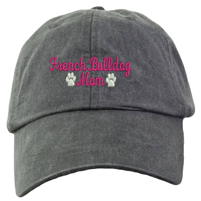 French Bulldog Mom Baseball Hat - Embroidered. Gift For French Bulldog Mom. French Bulldog Mom Cap With Adjustable Leather Strap. LP101 - Whynotstopnshop.com