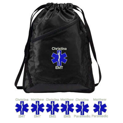 EMT EMS Paramedic Drawstring Bag Backpack.  Personalized Embroidered Port Authority Zip-It Cinch Pack. SM- BG616. - Whynotstopnshop.com