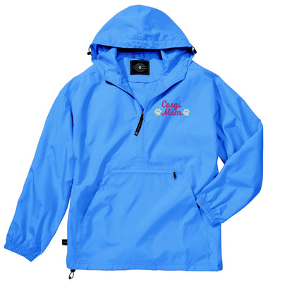 Corgi Mom Pullover Rain Jacket - Embroidered.  Dog Mom Windbreaker Rain Jacket.  Corgi Mom Gift. Pack-N-Go Pullover. CR: 9904 - Whynotstopnshop.com