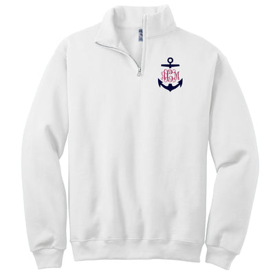 Anchor Monogrammed Quarter Zip Pullover. Embroidered Monogram. Monogram Quarter Zip Sweatshirt. Cadet Collar Sweatshirt. 995MR - Whynotstopnshop.com