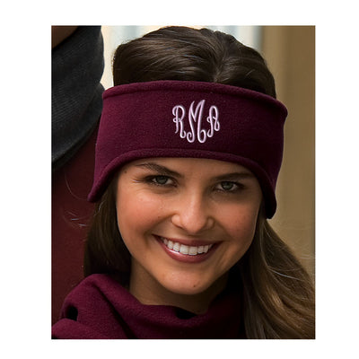 Fleece Headband - Monogrammed.  Monogrammed Ear Warmers.  C910 - Whynotstopnshop.com