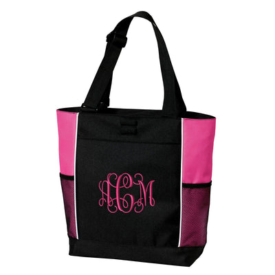 Large Zippered Tote Bag - Monogrammed.  Embroidered Tote Bag. Personalized Tote Bag.  Monogrammed Tote. Bride-Bridesmaid Gift. SM-B5160 - Whynotstopnshop.com