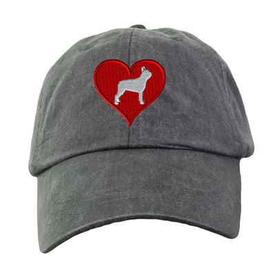 Love Heart Boston Terrier Hat - Embroidered. Dog Lover Hat. Embroidered Hat. Cool Mesh Lining & Adjustable Leather Strap. HER-LP101 - Whynotstopnshop.com