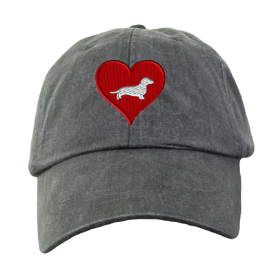 Love Heart Dachshund Hat - Embroidered. Dachshund Dog Lover Hat. Embroidered Hat. Cool Mesh Lining & Adjustable Leather Strap. HER-LP101 - Whynotstopnshop.com