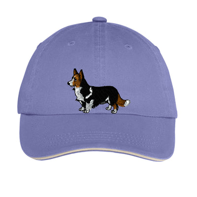 Corgi Hat Ladies Sandwich Bill Cap - Embroidered Corgi. Ladies Hat With Striped Closure. Embroidered Dog Hat. SM-LC830 - Whynotstopnshop.com