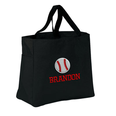 Baseball Player Tote Bag - Monogrammed.  Embroidered Baseball Tote. Sports Team Gift .  SM-B0750 - Whynotstopnshop.com