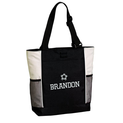 Large Soccer Zippered Tote Bag .  Embroidered Tote Bag. Personalized Tote Bag.  Monogrammed Tote. Sports Gift. SM-B5160 - Whynotstopnshop.com