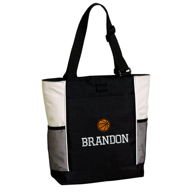 Large Basketball Zippered Tote Bag .  Embroidered Tote Bag. Personalized Tote Bag.  Monogrammed Tote. Sports Gift. SM-B5160 - Whynotstopnshop.com