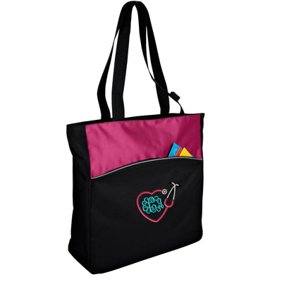 Hearth Stethoscope Monogram Improved Two-Tone Colorblock Tote. Monogrammed Tote Bag. Personalized Gift. Bridesmaid Gift . B1510. - Whynotstopnshop.com
