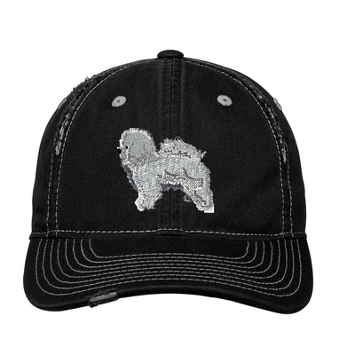 Bichon frise  Embroidered Rip and Distressed Cap. Custom Monogram Hat. Embroidered Hat. Personalized Gifts. Custom Hat. SM-DT612 - Whynotstopnshop.com