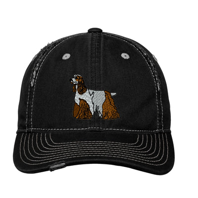 Cocker Spaniel Embroidered Rip and Distressed Cap.  Embroidered Hat. Personalized Gifts. Custom Hat. SM-DT612 - Whynotstopnshop.com