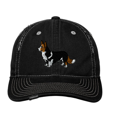 Corgi Embroidered Rip and Distressed Cap. . Embroidered Hat. Personalized Gifts. Custom Hat. SM-DT612 - Whynotstopnshop.com
