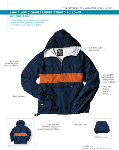 Monogram Striped Pullover Jacket. Monogrammed Jacket. Monogram Pullover. Classic Charles River Striped Pullover. CR: 9908 - Whynotstopnshop.com