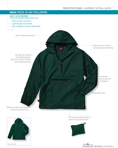 Monogram Light Weight Pullover. Monogrammed Rain Jacket. Charles River Pack-N-Go Pullover. Personalized Pullover Raincoat. CR: 9904 - Whynotstopnshop.com