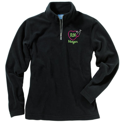 Monogram RN Heart Stethoscope Fleece Pullover. Charles River Women's Freeport Microfleece Pullover. Personalized Quarter Zip. CR: 5870 - Whynotstopnshop.com