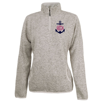 Anchor Monogram Womens Fleece Pullover. Nautical Pullover. Charles River Women's Heathered Fleece Pullover. Fleece Quarter Zip. CR: 5312 - Whynotstopnshop.com