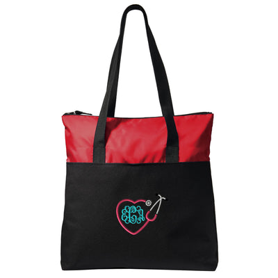 Heart Stethoscope Nurse Zippered Tote Bag - Monogrammed. Embroidered Heart Stethoscope Nurse Tote. Nurse Gift. RN Tote. LPN Tote. SM-BG407 - Whynotstopnshop.com