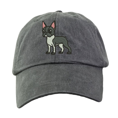 Boston Terrier Hat - Embroidered. Boston Terrier Cap. Cool Mesh Lining & Adjustable Leather Strap. 15 Colors Avail. HER-LP101 - Whynotstopnshop.com