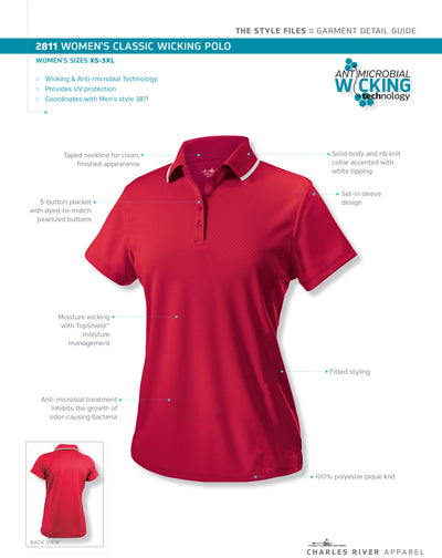 Monogram Womens Classic Polo. Monogrammed Golf Polo. Charles River Women's Classic Wicking Polo. Personalized Embroidered Polo. CR: 2811 - Whynotstopnshop.com