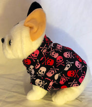 Load image into Gallery viewer, Rebel x Princess 2018: Small - XXL dog rockabilly luau party pirate shirt with red, white, pink skull & crossbones on black