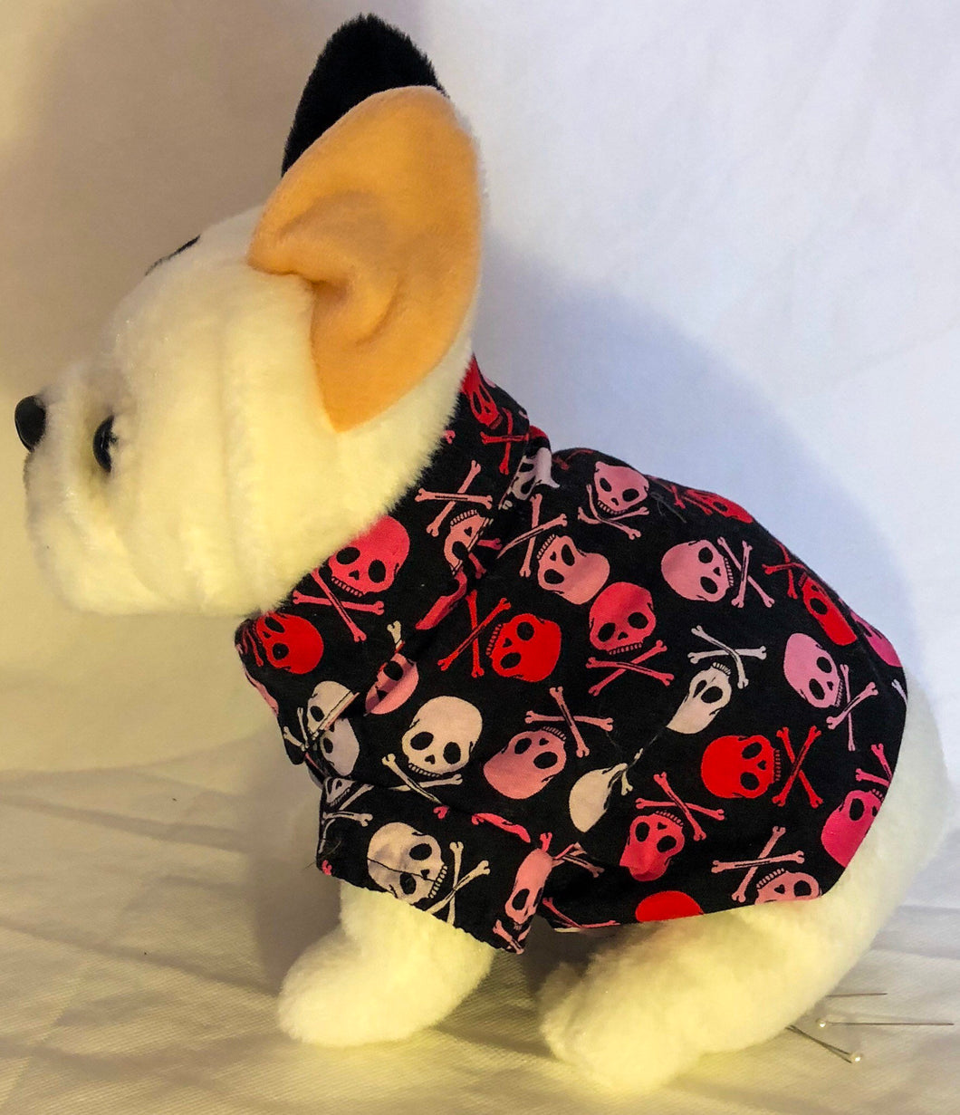 Rebel x Princess 2018: Small - XXL dog rockabilly luau party pirate shirt with red, white, pink skull & crossbones on black