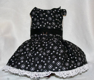 Winter snow and paws black and white dog dress with lace trim