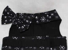 Load image into Gallery viewer, Winter snow and paws black and white dog dress with lace trim