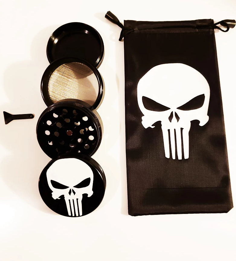 $19.99 Punisher Smoking Grinder  Black White Glass  Smoking Tool  2.1 inch