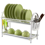 Kitchen Metal Wire Chrome Plated Dish Rack Plate Dish Drying Rack with Mug Stand