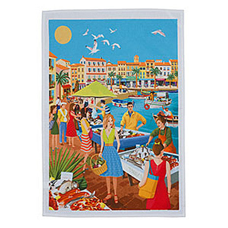 Le Panier - Printed Tea Towel - Fish Market