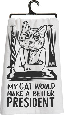 Cat President Dish Towel