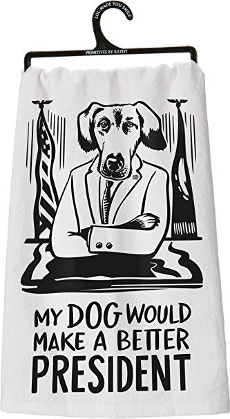 Dog President Dish Towel