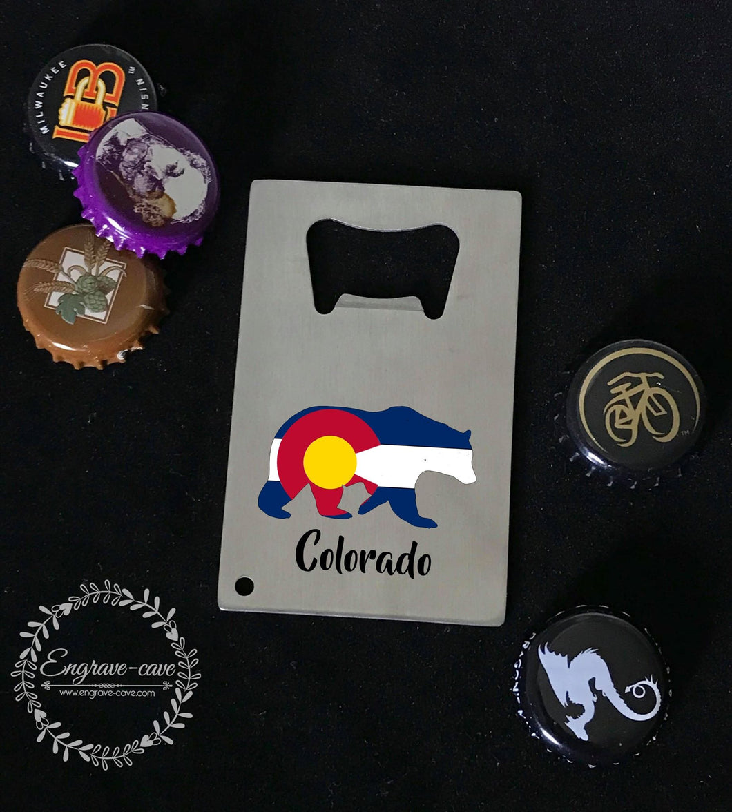 Bottle Opener- Colorado Flag Bear