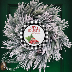 Wreath Sign Happy Holidays
