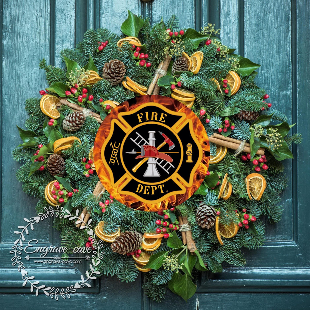 Wreath Sign Firefighter Flames