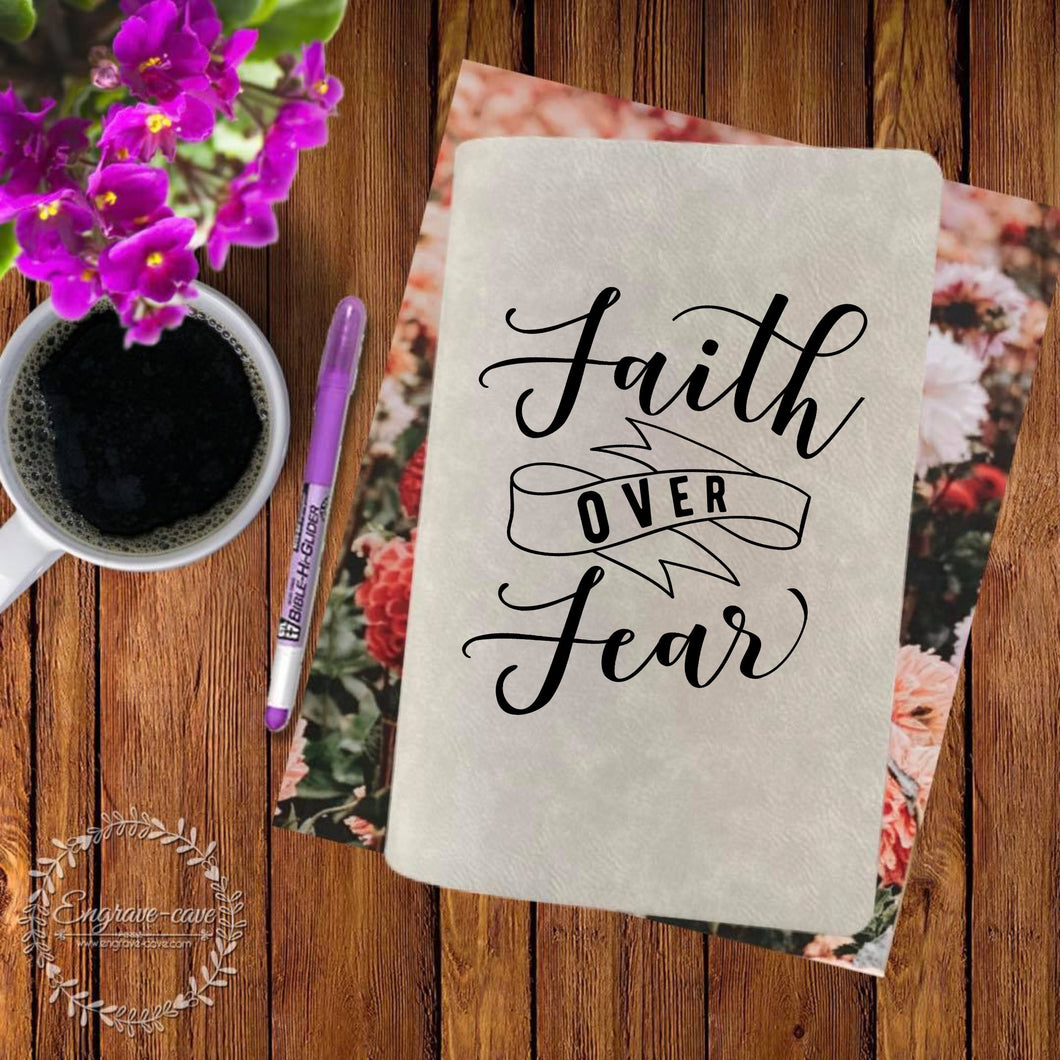Faith Over Fear Engraved Bible
