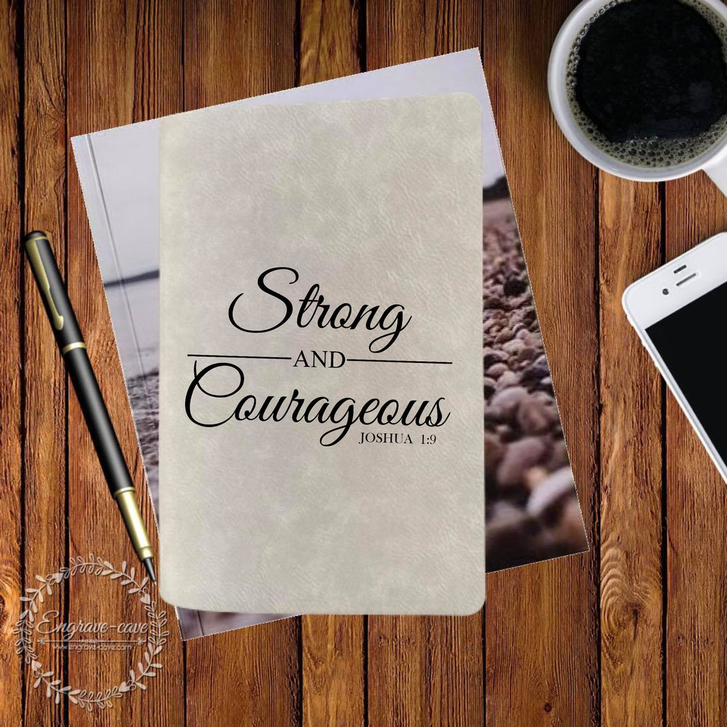 Strong and Courageous Engraved Bible