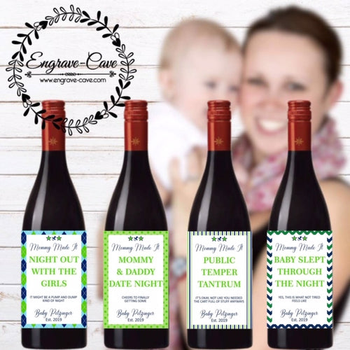 Mommy Made It Wine Labels- Baby Boy