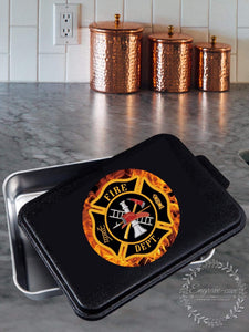 "Firefighter- Aluminum 9x13"" pan with printed lid"