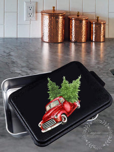 "Christmas Truck- Aluminum 9x13"" pan with printed lid"