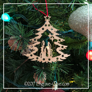 Wood Christmas Tree & Candle Ornament