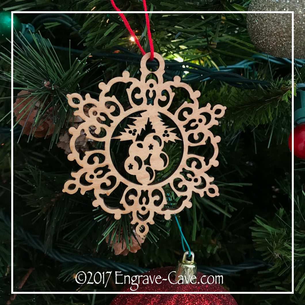 Wood Christmas Snowflake & Holly Ornament