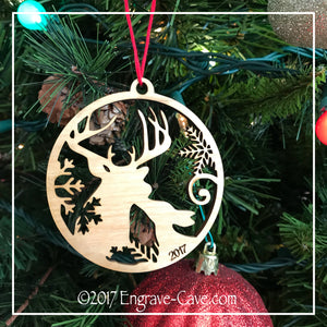 Wood Christmas Kissing Deer Ornament